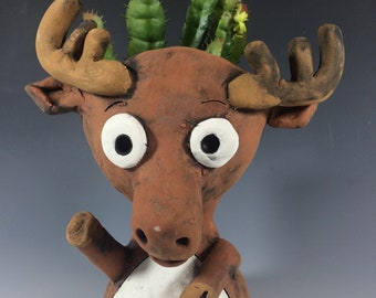 Marty Moose // Succulent Pot // Animal Planter // Brown // Antlers // Cute // Gift //  Pothead // Ceramic // Great North // Gift for Him