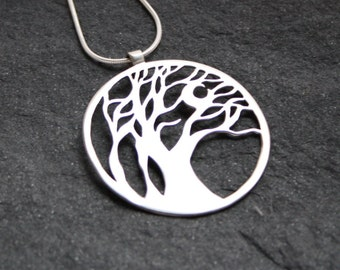 Wind Swept Trees with crescent moon sterling silver pendant