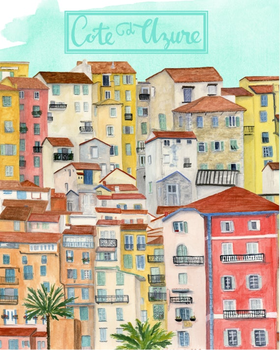 Cote d'Azure, France Travel Poster art print of an original watercolor illustration
