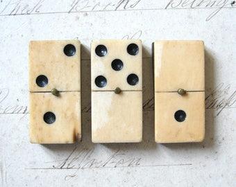 Antique Vintage Bone and Ebony Dominoes c1910 x 3 Pieces