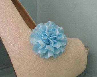 Beautiful Deeree Pale Blue Rosette Style Shoe Clips