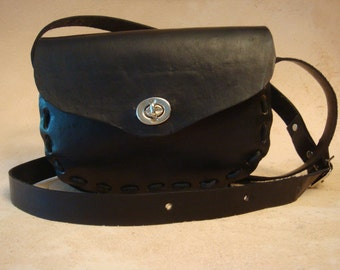 Lyn Handmade Black Leather Crossbody Bag - Shoulder Purse - Handbag