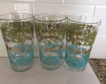 Vintage Set of Three Retro Glasses Tumblers