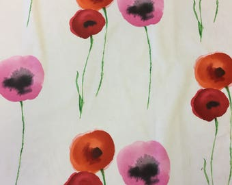 Sanderson Poppies Red/pink cotton print fabric by the metre