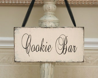 COOKIE BAR wedding reception sign, shabby bridal sign, sweet table sign, dessert table sign, rustic wedding sign, event planner