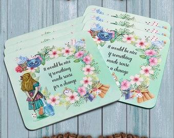 Alice wonderland coasters,  Drinks Coaster, Hard Plastic coasters Set of 6