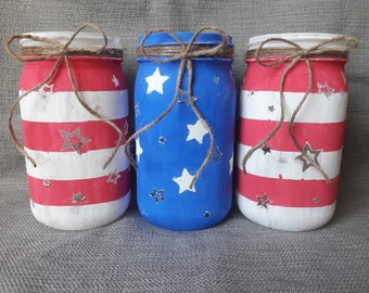 Painted Mason Jars- Flag