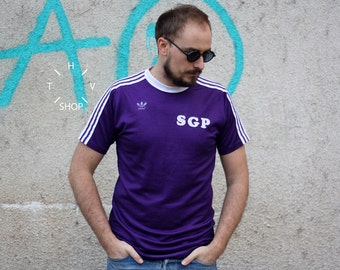 Vintage Adidas Originals SGP t-shirt / Soccer purple tshirt / Oldschool trefoil jersey / Sports Old school tee shirt / West Germany 70s 80s