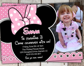Lacy Light Pink Minnie Mouse Invitations with photo  (other styles available) - Birthday Invitations - print yourself JPG