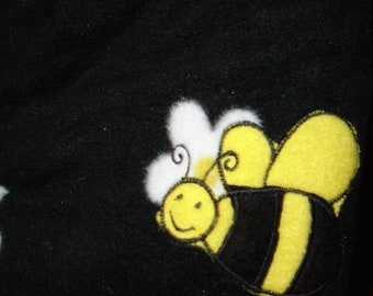 Bee Embroidered Fleece Throw