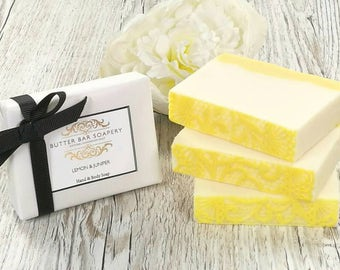 Natural Soap Bar Lemon Scented, Handmade Soap, Vegan Soap, Gift for Her, Mothers Day Gift, Cocoa Butter, Bridesmaid, Pamper Gift, Bath Gift