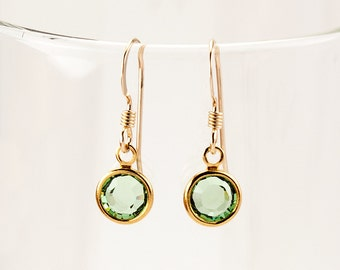 Girl Earrings, Peridot Green Crystal Earrings, Minimalist Earrings, August Birthstone, Gold Filled Earwires