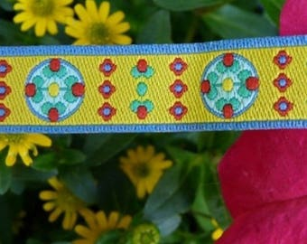 Floral yellow stripe 12mm the meter farbenmix Ribbon
