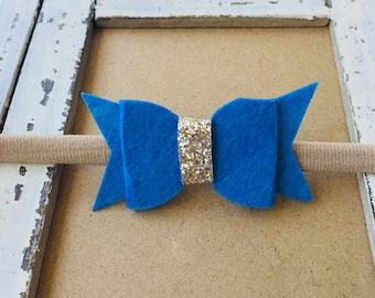 Cobalt Blue Felt Bow Headband, Baby Nylon Headband, Toddler Headband, Nylon Headband, Infant Headband, Baby girl headband, baby gift