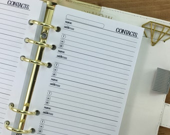 Personal Contacts printed planner insert refills - address book - phone number keeper - Personal Wide