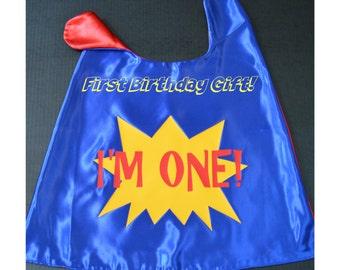 TODDLER Superhero Cape. Reversible Cape. I'm ONE superhero cape. First Birthday Gift. First Birthday Cape. Baby's First Cape. Satin Cape.