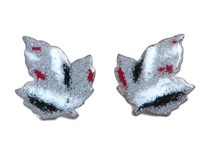 Enameled Leaf Earrings, Vintage Copper Screwback Earrings, Gray Enamel Earrings, Gift Idea for Her