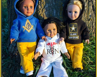 """Custom Hoodie Outfit for American Girl or Boy Doll; Sweatshirt & Pants 18"""" Dolls, Our Generation, Madame Alexander, Journey Girl, etc!"""