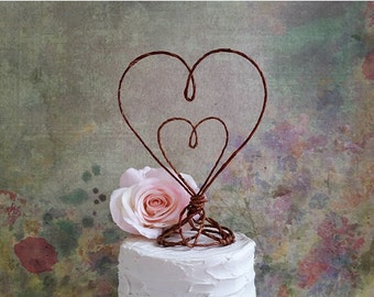 Rustic Hearts Wedding Cake Topper, Rustic Wedding Cake Topper, Rustic Centerpiece, Rustic Wedding Decoration, Bridal Shower, Anniversary