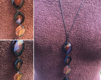 Agate Bead YNecklace, Warm Taupe YNecklace, Amber YNecklace, Flat Oval Agate Necklace, K Brown Jewellery