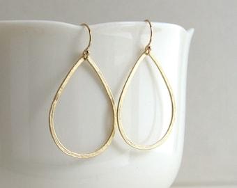 Delicate Hammered Teardrop Earrings, Gold Teardrop Hoops, Gold or Silver, Hoop Earrings - 14K Gold Fill or Sterling Silver Ear Wires