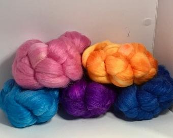 Spinning Fiber Merino SW/Bombyx/Mohair 70/15/15 - 5oz - Spring Rainbow