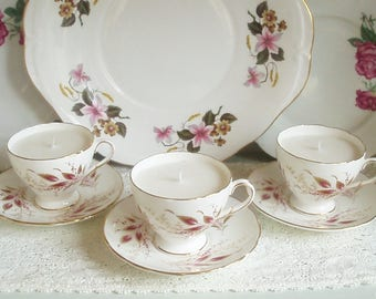 Set of 3 Vintage Foley China Demitasse Cup Soy Wax Candles