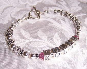 Single Strand Custom Made Personalized 1 Strand Mothers Grandmothers Name Bracelet with Sterling Swarovski
