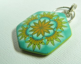 Polymer Clay Millefiori and Ink Pendant-Summer Turns to Autumn