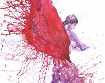 Dancer art,  Flamenco watercolor painting, Dance Print Illustration, Spanish dancer, figure painting , art print, girl painting, dance gifts