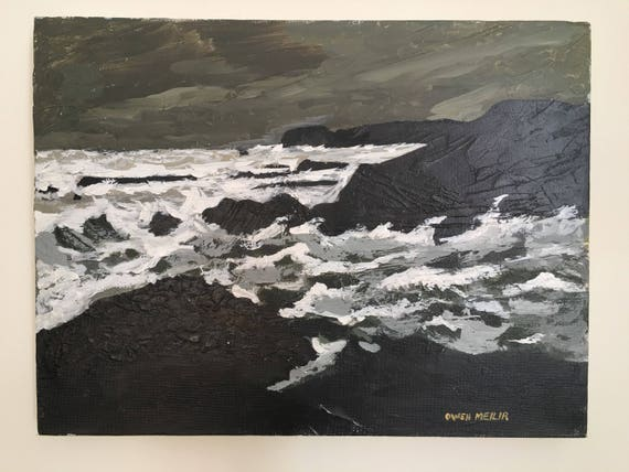Welsh Kyffin Williams school oil on stretched box canvas by Welsh artist Owen Meilir from Anglesey.