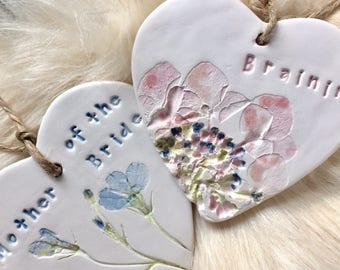 Personalised bridesmaid hearts ceramic