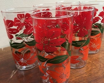 35% OFF SALE Vintage retro red orange poppy glass tumbler set of six (6) with green leaf accent