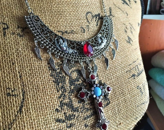 Featured listing image: Medieval Renaissance Fantasy Steampunk Choker Necklace with Cross, Angels and Red and Blue Glass Stones