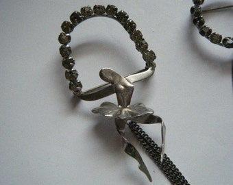 Ballerina with Hoop and Circle Brooch Sterling Silver Rhinestones Scatter Pins Sweater Pins