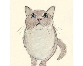 "Cat Art print -  I heart birds - 4"" X 6"" - 4 for 3 SALE"