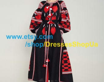 Linen Embroidered Dress Vyshyvanka Ukrainian Dress Boho Mexican Style