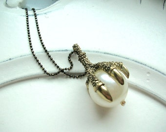 Talon and Pearl Pendant on Faceted Black and Brass Ball Chain