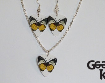 Butterfly plectrum necklace and earring jewellery set, this is the perfect gift for her