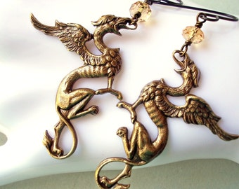 Dragon earrings, Gryphes, lion and eagle, Medieval style mystical griffins gryphon, solid oxidized brass, extra long, dragon slayer gothic