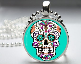 Colorful Sugar Skull Round Pendant Necklace with Silver Ball or Snake Chain Necklace or Key Ring