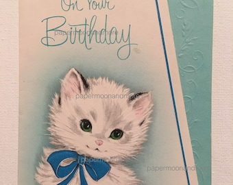 Vintage Birthday Card, NOS, Kitten, 1950s Cat Lover
