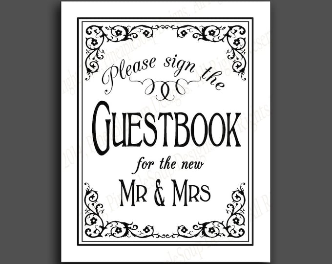 Printable Wedding GUESTBOOK  sign - 5x7, 8x10 or 11 x 14 - instant download digital file - DIY - Black Tie Collection - traditional