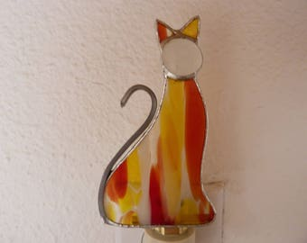 Cat Night Light, Kitty, Yellow Red Stained Glass, Wall Plug In, Bedroom Bathroom Kitchen Decor, Handmade Gift For Man Woman Friend Teen