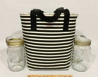 Custom 4 Pint Jar bag zero waste lunch or shopping tote carrier bag