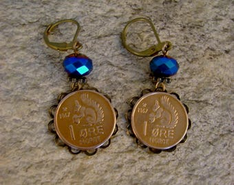Squirrelly Girl - Vintage 1967 Norway Ore Squirrel Copper Coins Bezels Midnight Blue Beads Recycled Repurposed Earrings
