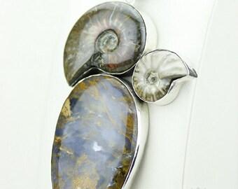 AUSTRALIAN TIGER Eye AMMONITE Fossil 925 S0LID Sterling Silver Pendant + 4mm Snake Chain & Free Worldwide Shipping mp174