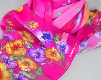 Scarf Vintage Elaine Gold Spring 1980's Scarf Fuscia Floral Scarf Petunia Wrap Oblong Scarf