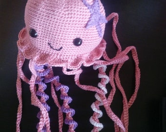 Jellyfish amigurumi pink purple 100% cotton