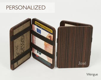 Personalized Wallet: Name or Initials, wooden wallet, credit card wallet, men's wallet, slim wallet, modern wallet, magic wooden wallet